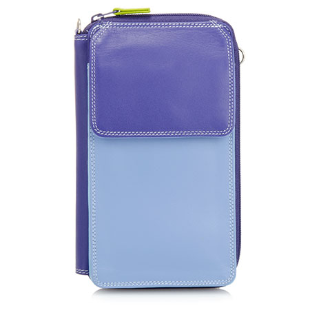 Zip Round Multi Purse with Shoulder Strap-Lavender