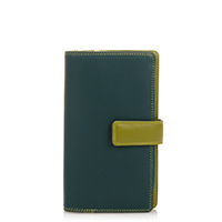 Large Tab Wallet with Zip Purse-Evergreen