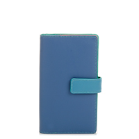 Large Tab Wallet with Zip Purse-Aqua