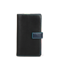 Large Tab Wallet with Zip Purse-Black/Pace