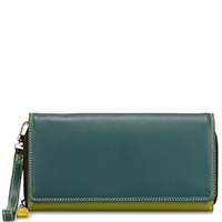 Large Flapover Zip Purse-Evergreen