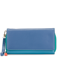 Large Flapover Zip Purse-Aqua