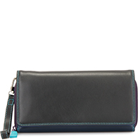 Large Flapover Zip Purse-Black/Pace