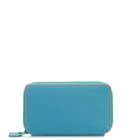 Malta Medium Double Zip Purse-Aqua