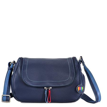 Seoul Scoop Zip Shoulder Bag-Blue