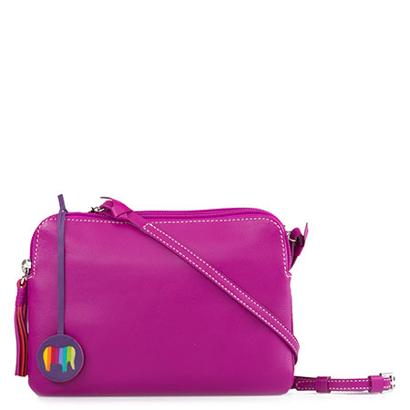 Bruges Double Zip Cross Body-Fuchsia