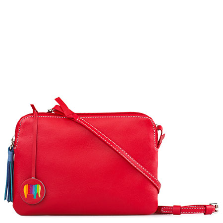 Bruges Double Zip Cross Body-Red