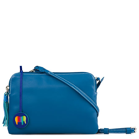 Bruges Double Zip Cross Body-Sea Blue