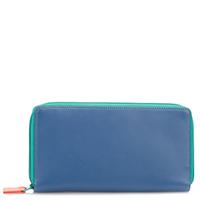 Large Double Zip Wallet-Aqua